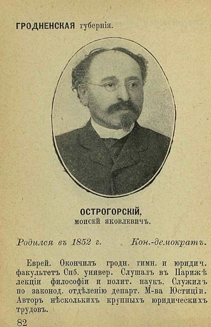 Foto Ostrogorski con datos personales en ruso